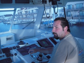 John at the helm of his Clam Dealer