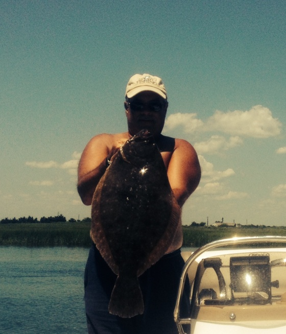 CJ  caught this  big back bay summer flounder today, 6 plus lbs