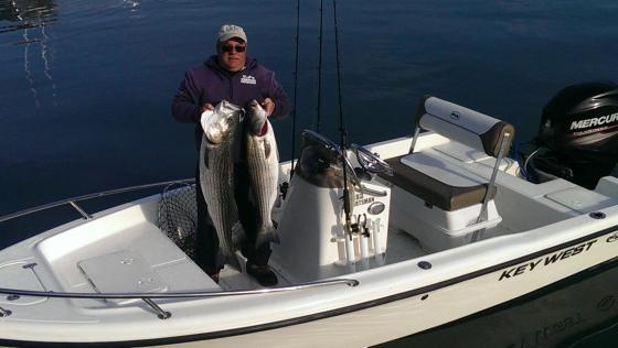 CJ has earned a 95% catch rate on quality striped bass.  over the  last couple of weeks. He  has caught  most of them  from his 15'keywest.