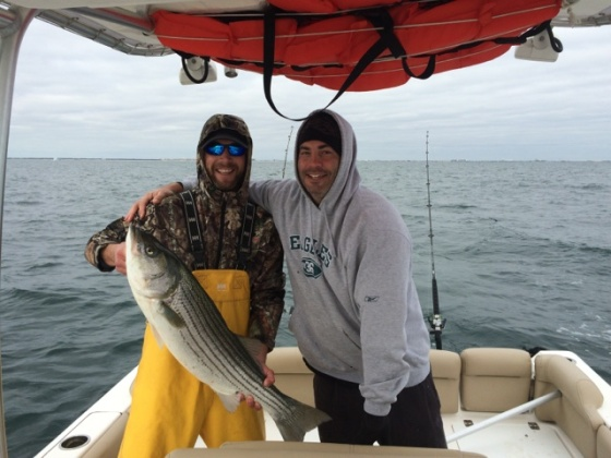 Adam to the right, will try striped bass , for the first time tonight.